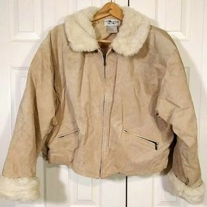 Women's Genuine Suede Leather Faux Fur Collar